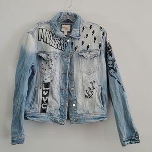 Forever 21 Graphic Studded Denim Jacket